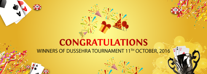 Congratulations to all the winners of Dussehra Rummy Tournament